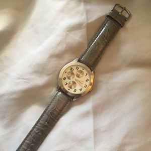 Grey Faux Leather Watch